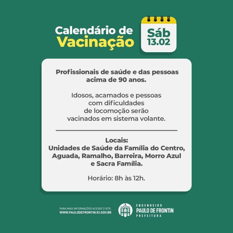 Paulo Frontin vacina idosos e profissionais de saúde neste sábado(13)