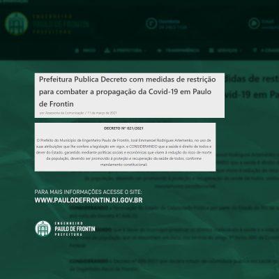 Prefeitura Publica Decreto com medidas de restrição para combater a propagação da Covid-19 em Paulo de Frontin