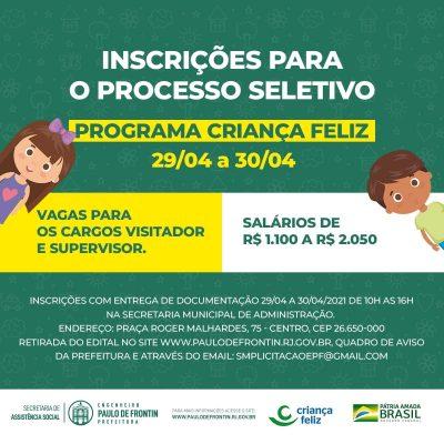 Inscrições para o processo seletivo do Programa Criança Feliz