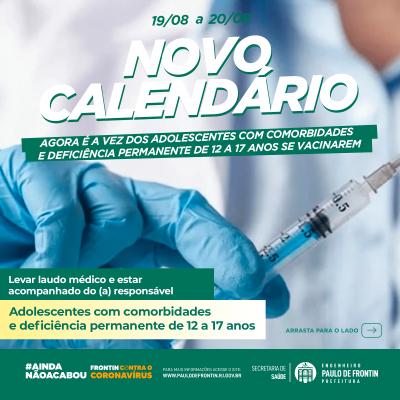 Vacinação das pessoas com comorbidades e deficiência permanente de 12 à 17 anos