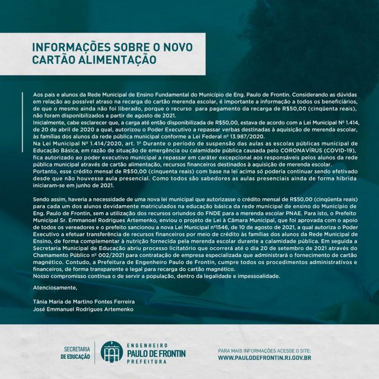 INFORMAÇÕES SOBRE O NOVO CARTÃO ALIMENTAÇÃO